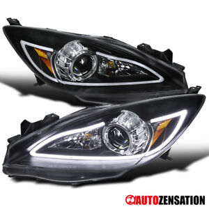For 2010 2013 Mazda 3 Led Drl Bar Black Projector Headlights Lamps Pair