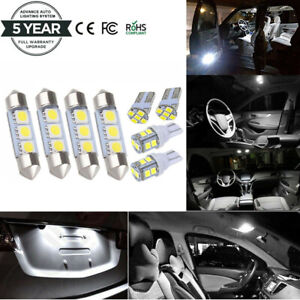 8x White Led Dome Map License Plate Light Bulbs Interior Led Package Kit For Car