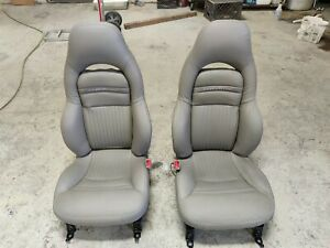97 04 Corvette C5 Power Leather Sport Seats Gray Pewter Grey Used Reproduction