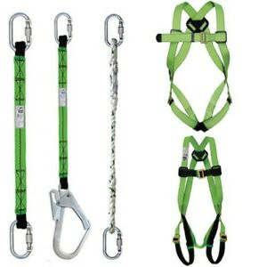 Work At Height Fall Arrest Safety Harness Webbing Lanyards Double Carabiners