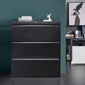 Steel 3 Drawers Lateral File Storage Metal Cabinet Office Furniture Lockcabinet