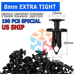 100pcs 8mm Hole Plastic Rivets Fastener Push Clips Clip For Car Auto Fender