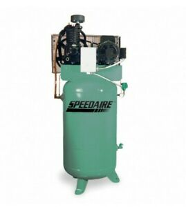 Speedaire 3 Phase Electric Air Compressor 1wd55 Vertical Tank 5 Hp Needs Pump