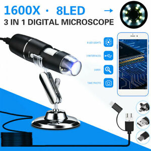 1600x 8led Usb Digital Microscope Endoscope Zoom Camera Magnifier With Stand