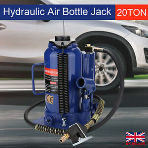 20 Ton Pneumatic Air Hydraulic Bottle Jack W Manual Hand Pump Car Van Truck Uk