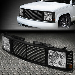 For 94 00 Chevy Gmc C k 1500 3500 Suburban Chrome Headlights black Rover Grille