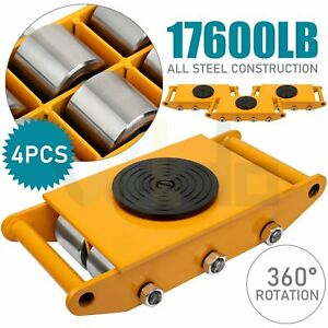 8t Machinery Mover Machine Skate Dolly Mover 360 Rotate Cap Steel Wheel 4pcs