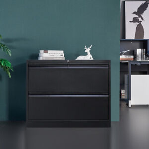 White Metal Lateral File Storage Cabinet W 2lockable Drawers anti tilt Structure