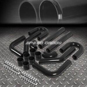 Universal 8pc 2 5 Aluminum Fmic Turbo Intercooler Piping coupler Diy Kit Black