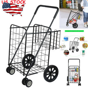 Large capacity Supermarket Black Folding Shopping Cart For Grocery Laundry Trave