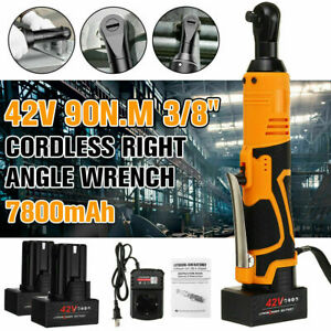3 8 42v Electric Cordless Ratchet Right Angle Led Wrench Impact W 2 Battery