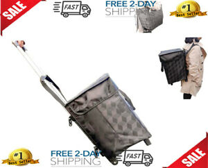 Shopping Bag With Wheels Backpack Straps Folding Utility Trolley Grocery Cart Te