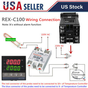 Lcd Pid Rex c100 Temperature Controller Set k Thermocouple max 40a Ssr Us Y3a2