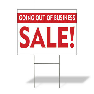 Weatherproof Yard Sign Going Out Of Business Sale B Red Lawn Garden