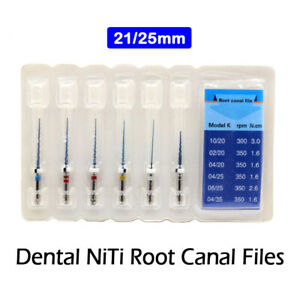 6pcs Dental Rotary Niti Files 21 25mm Endodontic Rotary Twisted Tips For Engine