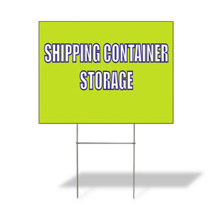 Weatherproof Yard Sign Shipping Container Storage Yellow Lawn Garden