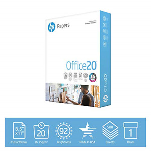Hp Printer Paper 8 5 X 11 20 Lb 1 Ream 500 Sheets 92 Bright Made In