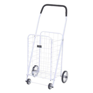 Mini Folding Shopping Car Rolling Grocery Laundry Cart White Holds 125 Lbs