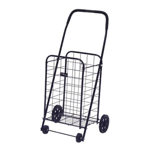 Mini Folding Shopping Car Rolling Grocery Laundry Cart Black Holds 100 Lbs