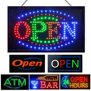 Led Neon Light Animated Motion Open Sign Business Hours Vertical Store Shop Bar