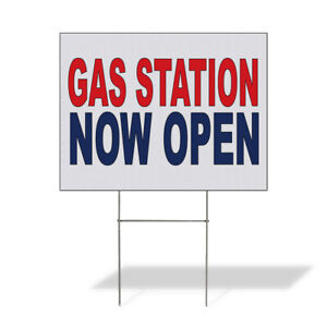 Weatherproof Yard Sign Gas Station Now Open Red Blue Lawn Garden