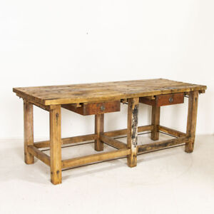 Antique Large Industrial Work Table Butchers Table Kitchen Island With Two Deep