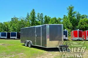 New 2021 8 5 X 18 V Nosed Enclosed Cargo Race Car Toy Hauler Trailer Loaded