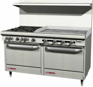 Southbend S60ad 3t 60 4 Burner Range With 36 Thermostatic Griddle Dual Oven