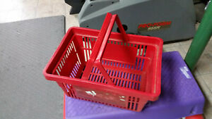Red Plastic Grocery Store Market Shopping Basket