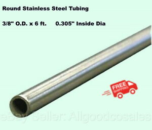 Round Tubing 304 Stainless Steel 3 8 Od X 6 Ft Welded 0 305 Inside Dia