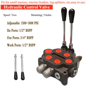 2 Spool Hydraulic Control Valve Loader For Small Tractor 3 4 Bspp 25gpm 3000psi
