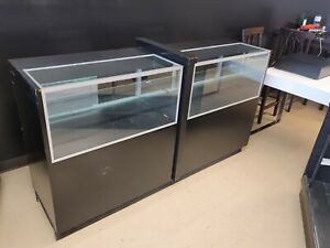 Glass Wood Black Showcase Display Case Store Good Condition Very Sturdy