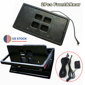 2x Car Electric Flip Turn Over License Plate Frame Shutter Cover W Remote usa