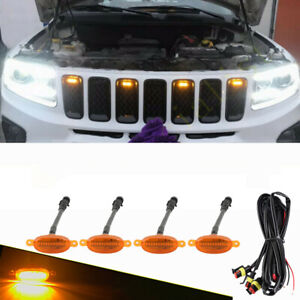For Jeep Grand Cherokee 2002 2021 Front Grille Led Light Raptor Style Grill 4pcs