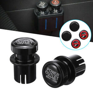 2pcs Car Cigarette Lighter Plug Outlet Cover Cap 12v Socket 21mm Universal
