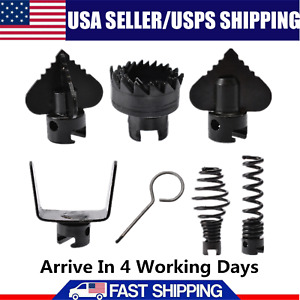7pcs Manganese Steel Drain Cleaner Pipeline Dredging Machine Cutting Head Black