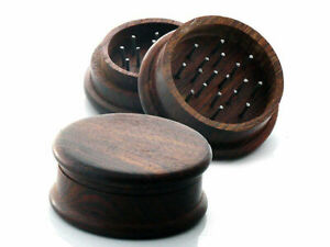 Quality Wood Tobacco Herb Grinder Approx 2 X 1 Inches Metal Teeth