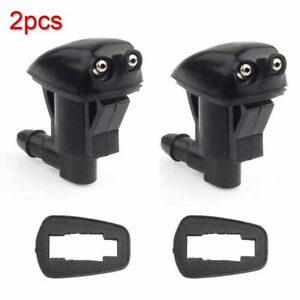2x Auto Car Windshield Wiper Water Jet Spray Washer Nozzle Kit Aluminum Black