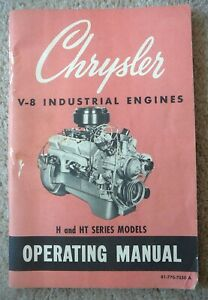 Chrysler V 8 Industrial Engines 1973 Owners Operating Manual H Ht Series Gd