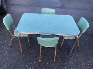 Vintage Mid Century Formica Dinette Set Mcm Retro Table Chairs Green Chrome Mod
