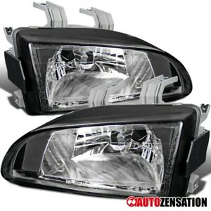 Fit 1992 1995 Honda Civic Eg Ej Black Headlights Head Lamps Replacement 93 94