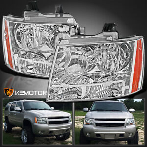For 2007 2014 Chevy Avalanche Tahoe Suburban Clear Headlights Left Right 07 14