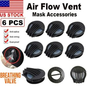 New Breathing Valve Outdoor Air Filter Cycling Face Mask Replacement 6pc
