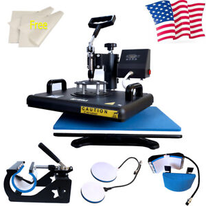 5in1 Heat Press Machine Swing Away Digital Sublimation T shirt Mug Plate Cup Mat