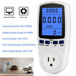 Power Energy Meter Voltage Amps Electricity Monitor Wall Socket Outlet Watt Kwh