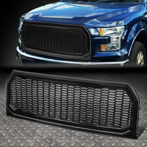 For 15 17 Ford F150 Glossy Honeycomb Style Mesh Front Bumper Hood Grille Grill