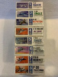 Lee Set of 8 Factory Sealed Model Airplane Famous Jet Fighter Series Kits1:144 $99.99