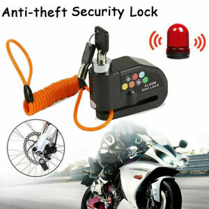 110db Motorcycle Anti theft Wheel Disc Lock Security Alarm With Bag Brake Cable