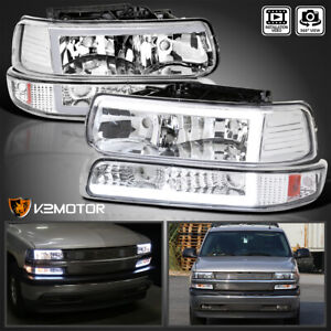 For 1999 2002 Chevy Silverado Led Tube Headlights Bumper Signal Lamps Lights