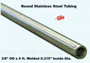 Round Tubing 304 Stainless Steel 3 8 Od X 6 Ft Welded 0 319 Inside Dia